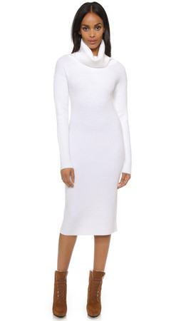 Dkny Long Sleeve Turtleneck Dress - White