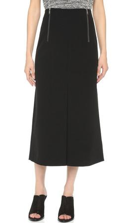 Dkny Midi Skirt With Inverted Pleat - Black