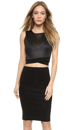 Dkny Sleeveless Crop Top With Zip Back - Black