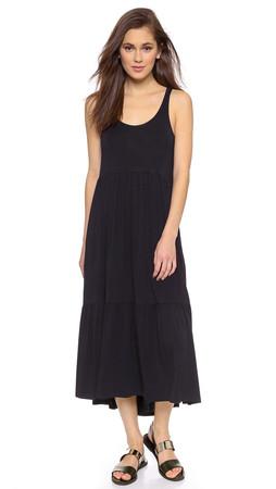 Dkny Sleeveless Tiered Midi Dress - Black
