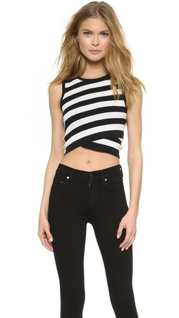 Dkny Striped Sleeveless Crop Top - Black/White
