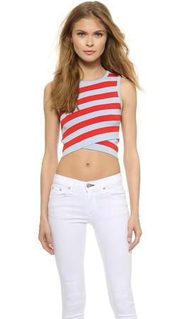 Dkny Striped Sleeveless Crop Top - Caress/Blazing