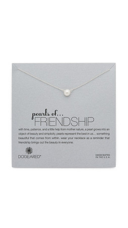 Dogeared Friendship Necklace - Silver/Pearl