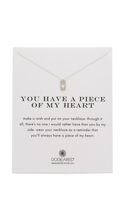 Dogeared Piece Of My Heart Charm Necklace - Silver