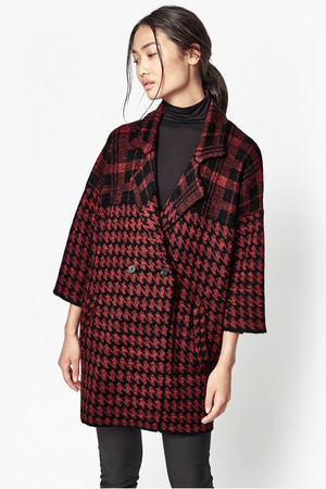 Dogtooth Oversized Coatigan - Black/Riot Red