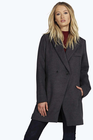 Double Breasted Wool Look Coat - charcoal