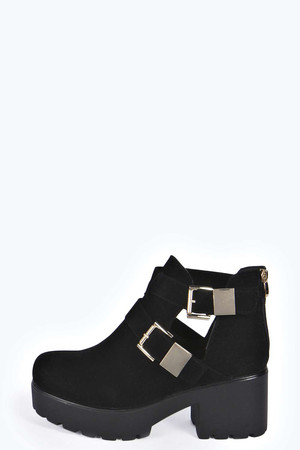 Double Clip Suedette Cut Out Boots black
