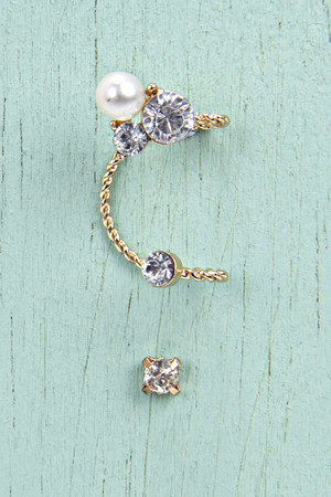Double Diamante Stud Ear Cuff gold