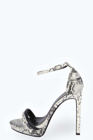 Double Strap Snake Platform Heels grey