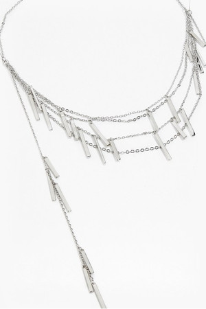 Draped Metal Bar Necklace - Rhodium
