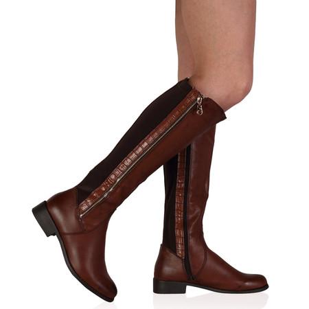Eadie Brown Knee High Zip Boots