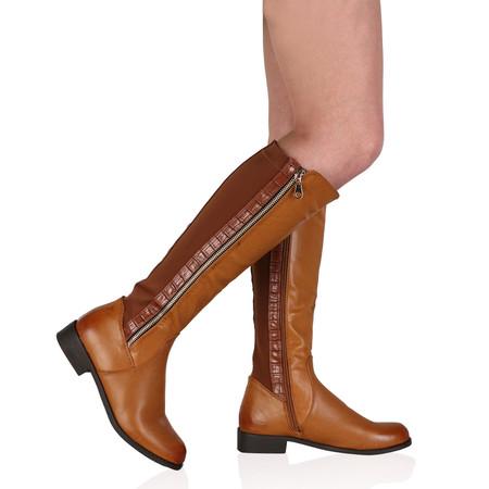 Eadie Tan Brown Knee High Zip Boots