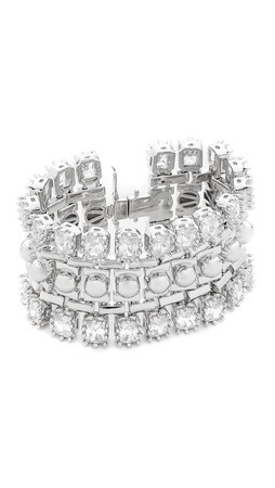 Eddie Borgo Dome Estate Cuff Bracelet - Silver/Clear