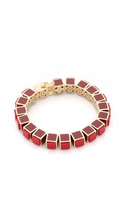 Eddie Borgo Inlaid Small Cube Bracelet - Red/Gold