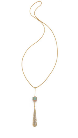 Eddie Borgo Plume Pendulum Necklace - Rose Quartz/Light Amazonite
