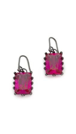 Eddie Borgo Rectangle Estate Drop Earrings - Pink/Gunmetal