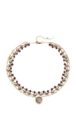 Ela Rae 3 Strand Choker Necklace - Pink Opal/Pyrite/Ruby
