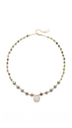Ela Rae Ara Two Tone Necklace - Cat Eye/Pyrite/Moonstone