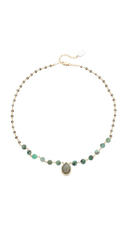 Ela Rae Ara Two Toned Necklace - Smokey Quartz/Emerald/Lab