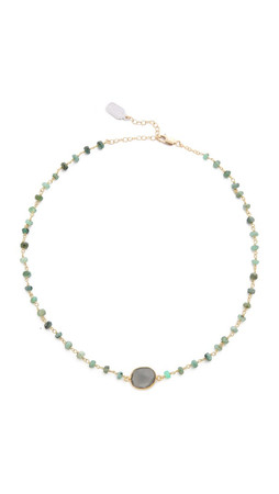 Ela Rae Libi Necklace - Emerald/Grey Moonstone