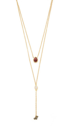 Ela Rae Noa Necklace - Gold/Garnet/Moonstone
