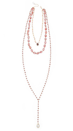 Ela Rae Three In One Necklace - Pink Opal/Garnet