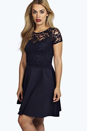 Eliza Lace Panelled Skater Dress - navy