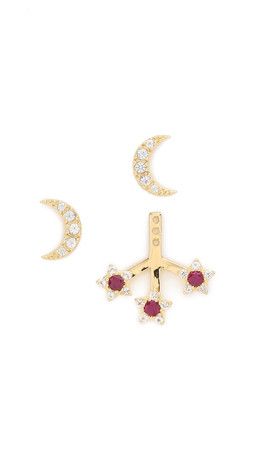 Elizabeth And James Cosmic Ear Jacket Set - Clear/Ruby/Gold
