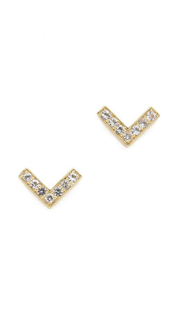 Elizabeth And James Edo Stud Earrings - Gold/White Topaz
