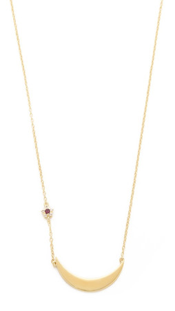 Elizabeth And James Luna Necklace - Gold/Clear/Ruby