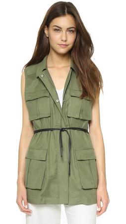 Elizabeth And James Nikki Cargo Vest - Military Green