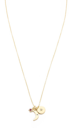 Elizabeth And James Nova Charm Long Necklace - Gold/Clear/Ruby