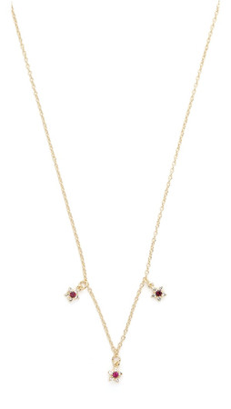 Elizabeth And James Stellar Necklace - Gold/Clear/Ruby