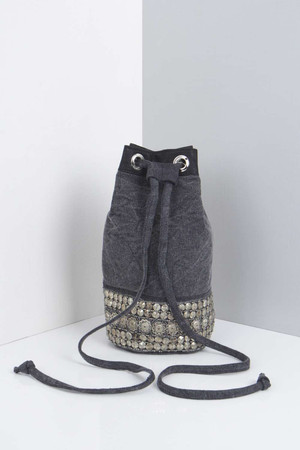 Embellished Denim Duffle Bag blue