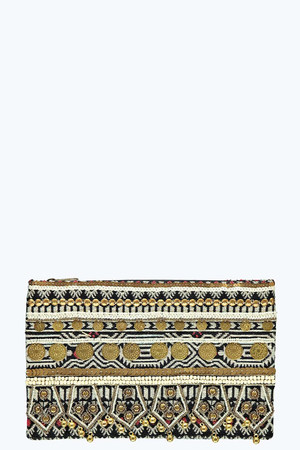 Embroidered And Beaded Clutch Bag - black