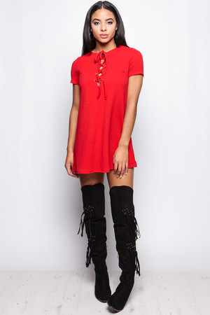 Emely Red Tie Front Shift Dress