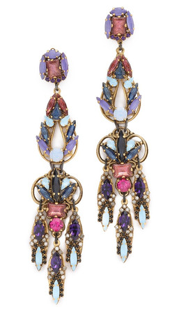 Erickson Beamon Statement Crystal Drop Earrings - Blue Multi