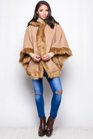 Erin Camel Faux Fur Trim Hooded Cape