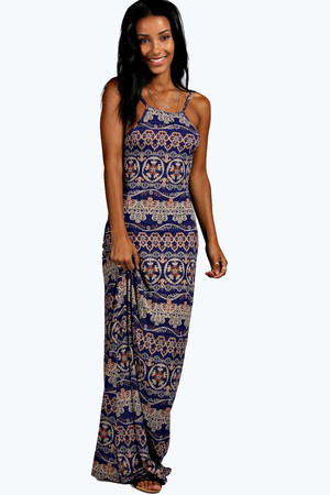 Ethnic Strappy Back Maxi Dress - blue