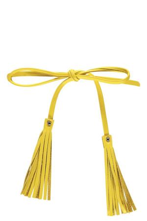 Eva Tassel Skinny Leather Belt yellow