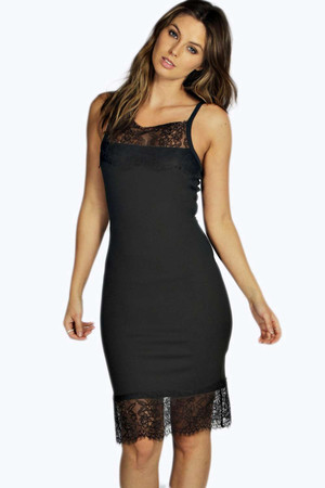 Eyelash Lace Trim Midi Dress black