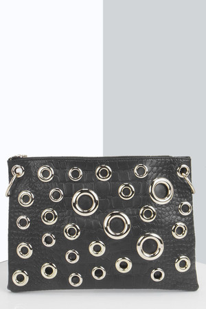 Eyelet Mock Croc Oversize Clutch Bag black