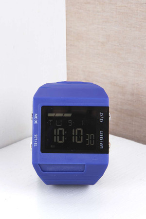 Face Digital Watch blue