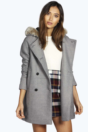 Faux Fur Hood Coat grey