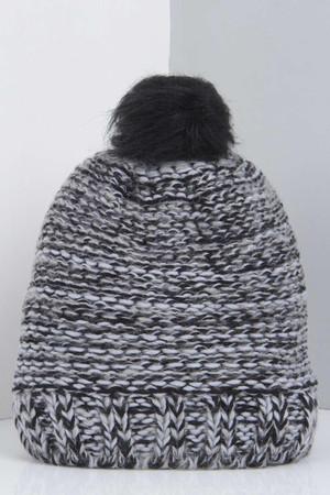 Faux Fur Pom Beanie Hat grey