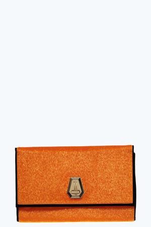 Faux Pony Clutch Bag orange