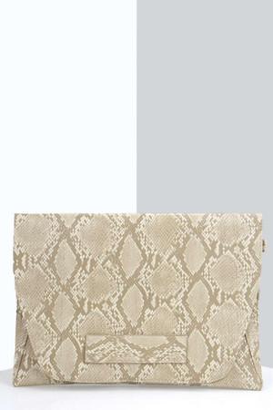 Faux Snakeskin Hand Strap Clutch Bag beige
