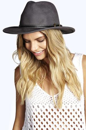 Fedora Wool Hat With Belt Trim grey