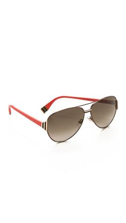 Fendi Aviator Sunglasses - Brown Black Coral/Brown