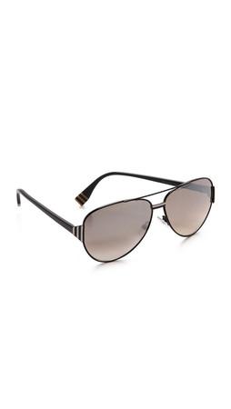 Fendi Aviator Sunglasses - Shiny Black/Brown